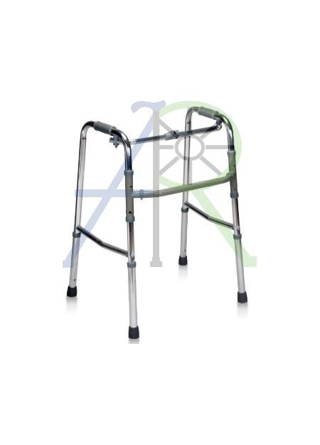 Single button foldable walker